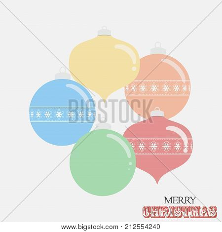 Drawing Style Different Shaped Christmas Baubles and Decorative Text