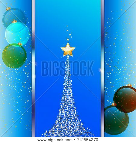 Christmas Festive Blue Background with Metallic Panel Abstract Tree star and Glass Baubles