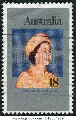 Australia - Circa 1977: Postage Stamp Printed In Australia, Dedicated To The 25Th Anniversary Of The