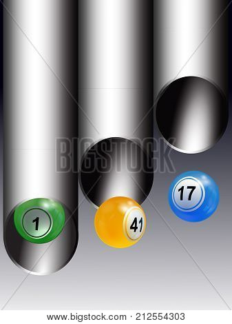 3D Illustration of Trio of Bingo Lottery Balls Coming Out From Metallic Tubes Over Gray Background