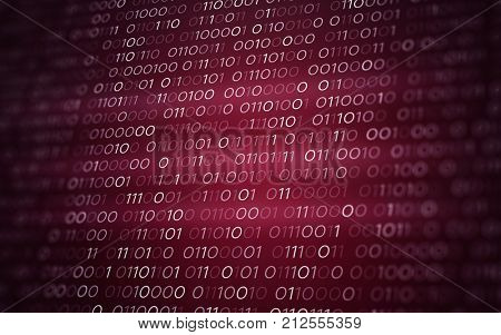 3D Abstract Red Binary Code Futuristic Information Technology Illustration Render Background