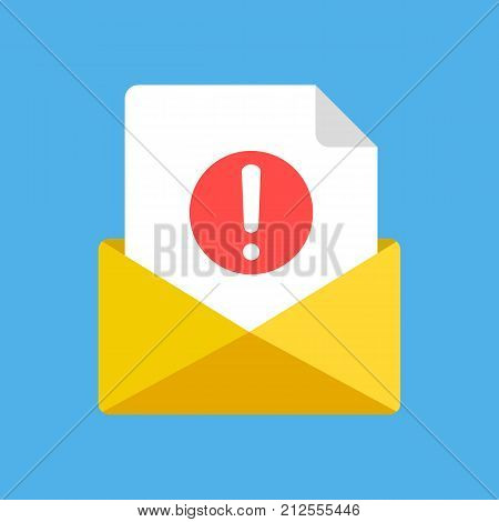 Envelope and document with exclamation mark. New e-mail received, email, spam, notification concepts. Modern graphic elements. Flat design vector icon isolated on blue background