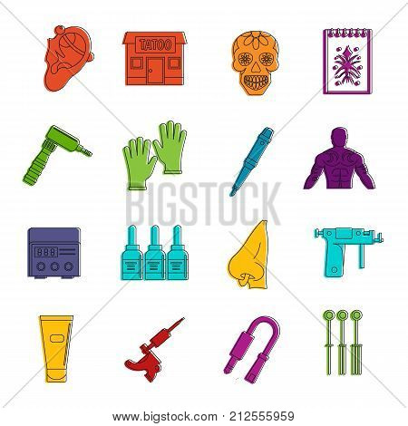 Tattoo parlor icons set. Doodle illustration of vector icons isolated on white background for any web design