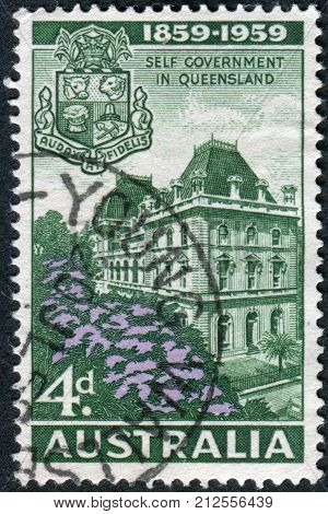 Australia - Circa 1959: Postage Stamp Printed In Australia, Dedicated To Centenary Of Queensland Sel