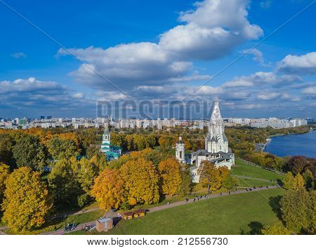Church of Ascension in park Kolomenskoe - Moscow Russia - aerial view