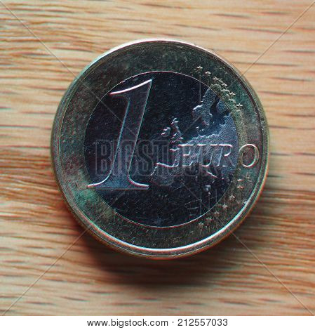 Anaglyph 3D Image Of 1 Euro Coin, European Union