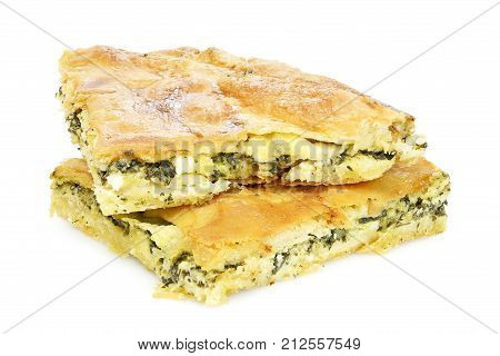 spinach pie or spanakopita with spinach and feta cheese greek traditional dessert