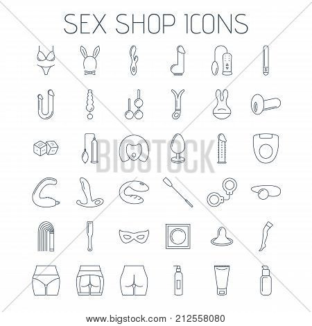 Sex Shop Line Icons Isolated On White Background.
