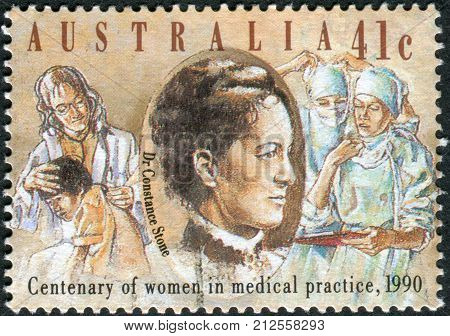 Australia - Circa 1990: Postage Stamp Printed In Australia, Dedicated To The 100Th Anniversary Of Wo