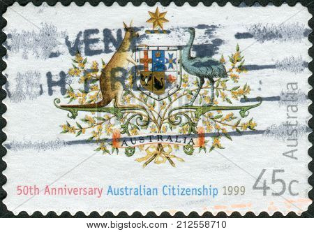 Australia - Circa 1999: Postage Stamp Printed In Australia, Dedicated To The 50Th Anniversary Of The