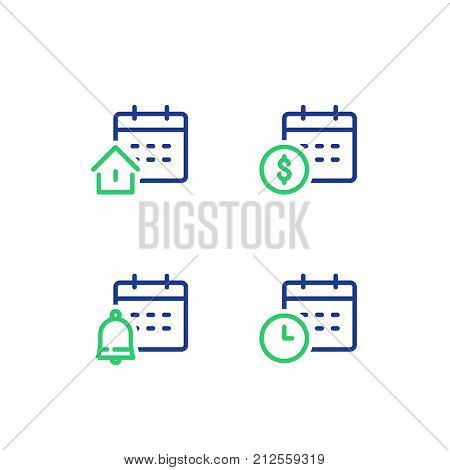 Finance calendar, time period, monthly payment, mortgage loan concept, real estate, bell reminder, vector line icon