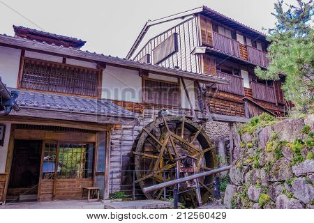 Nagano Prefecture JAPAN -September 3 2017: Traditional shops and stores of Unno-juku is the old town Nagano Prefecture JAPAN.