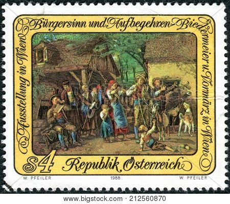 Austria - Circa 1988: A Postage Stamp Printed In Austria, Is Dedicated To The Exhibition In Vienna,