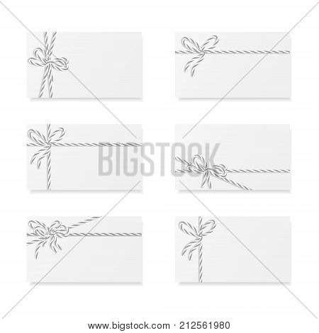 Collection of six card notes with gray bakers twine bows and ribbons