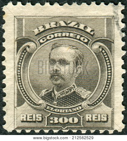 Brazil - Circa 1906: Postage Stamp Printed In Brazil, Shows A Soldier And Politician, The Second Pre