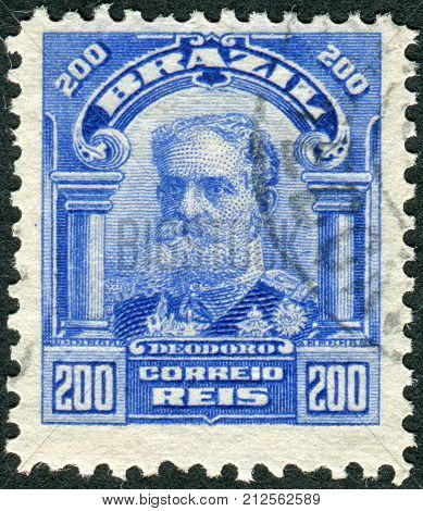 Brazil - Circa 1915: Postage Stamp Printed In Brazil Shows The First Brazilian President, Manuel Deo
