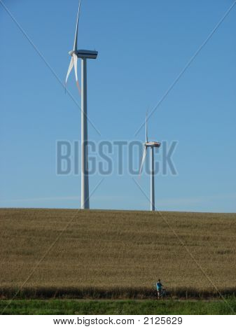 Girl And Wind Turbines