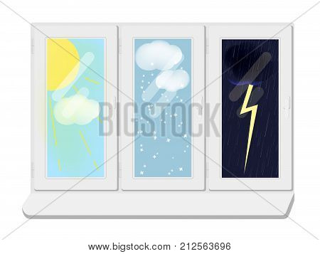 Vector illustration of a view from the window. Snow, sun, thunderstorm in the window. Weather forecast