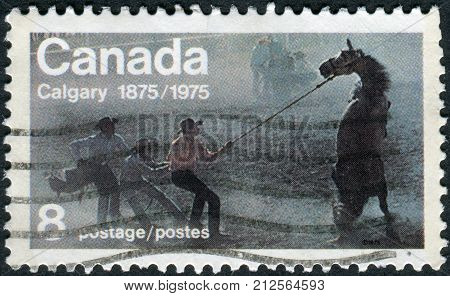 CANADA - CIRCA 1975: Postage stamp printed in Canada dedicated to Centenary of the founding of Calgary shows the