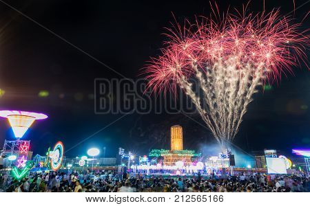 Lop Buri Thailand - November 32017. Amazing fire work celebration the in Loy Krathong Festival 2017 at Sra Kaew Circle Lop Buri Thailand.