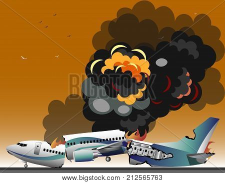 Aircraft accidents isolated. Flat style vector illustration