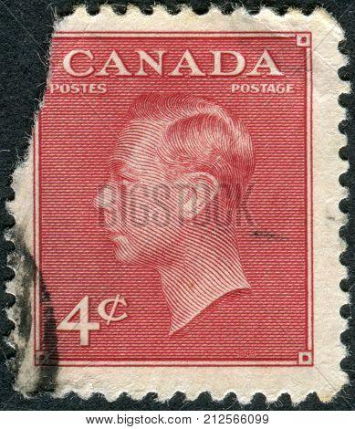CANADA - CIRCA 1950: Postage stamp printed in Canada a portrait of King George VI circa 1950