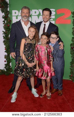 LOS ANGELES - NOV 5:  Mel Gibson, Mark Wahlberg, Owen Vaccaro, Scarlett Estevez, Didi Costine_ at the