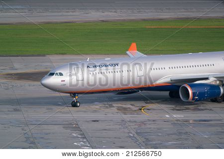 Moscow, Sheremetyevo airport, Russia - September 24, 2016: Aeroflot - Russian Airlines Airbus A330-343X, VQ-BPI named in honor of great football player Lev Yashin, taxiing to airport terminal after landing