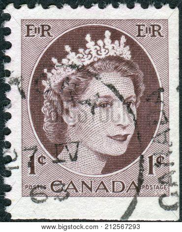 CANADA - CIRCA 1956: Postage stamp printed in Canada shows portrait of Queen Elizabeth II circa 1956