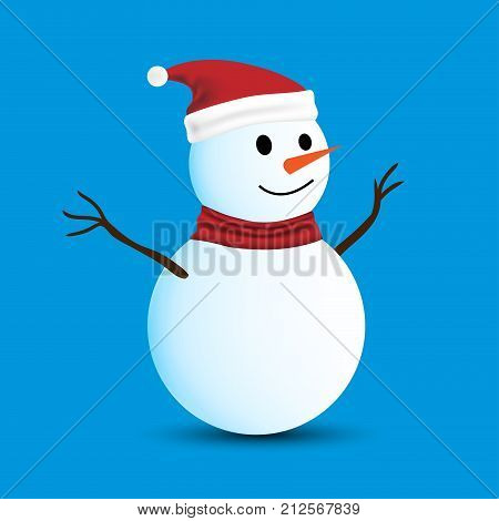 Isolated Snowman On Blue Background