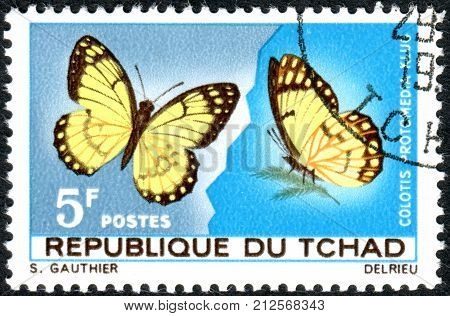 CHAD - CIRCA 1967: A stamp printed in Chad shows the butterfly Yellow Splendour Tip (Colotis protomedia) circa 1967