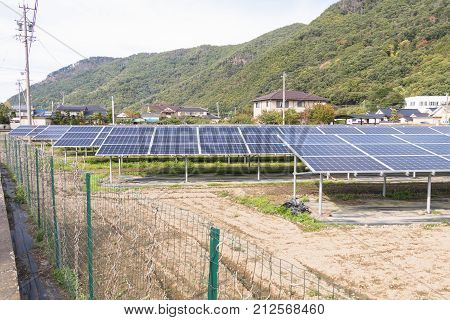 Solar panels on the roof Photovoltaic modules for innovation green energy for life.