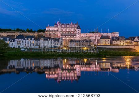 Amboise castle in the Loire Valley - France - travel and architecture background