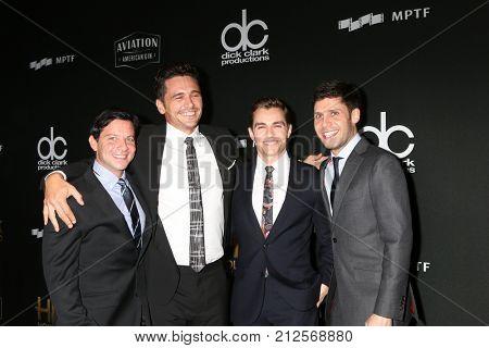 LOS ANGELES - NOV 5:  Scott Neustadter, James Franco, Dave Franco, Michael H Weber at the 2017 Hollywood Film Awards at Tao on November 5, 2017 in Los Angeles, CA