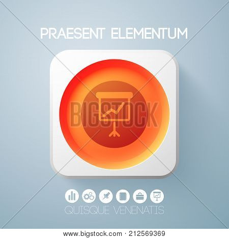 Web design elements with red round button in light square frame and flipchart icon isolated vector illustration