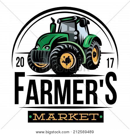 colored vector tractor pattern on farm background.