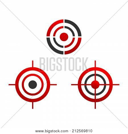 Various target icons illustration. Target black and red logo. Target icons sign