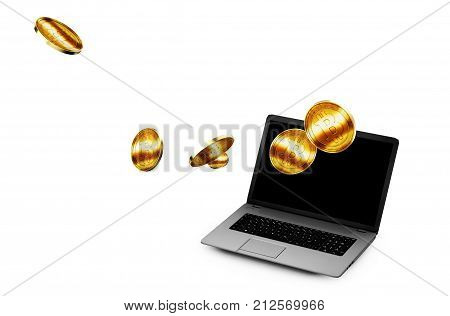 3D Illustration of Golden Bitcoins being inserted into coin acceptor on a laptop