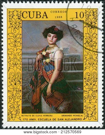 CUBA - CIRCA 1988: Postage stamp printed in Cuba devoted to 170 anniversary of the San Alejandro Academy of Fine Arts Havana Paintin shows Elena Herrera by Armando Menocal circa 1988