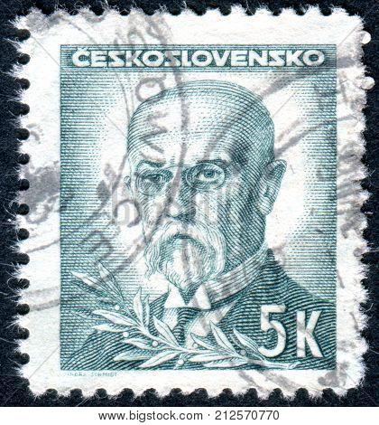 CZECHOSLOVAKIA - CIRCA 1945: A stamp printed in the Czechoslovakia shows the first president of Czechoslovakia Thomas Masaryk circa 1945