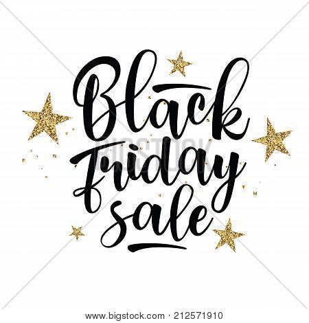 Black Friday sale inscription design template with gold stars. Black Friday banner. Vector illustration