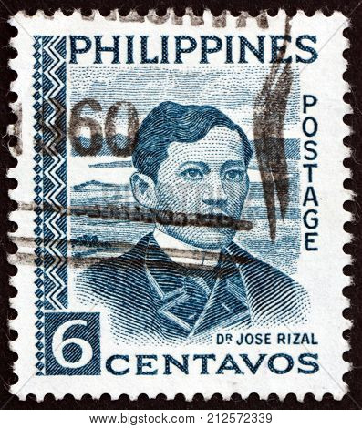 PHILIPPINES - CIRCA 1959: a stamp printed in Philippines shows Jose Rizal Portrait National Hero Nationalist and Reformist circa 1959