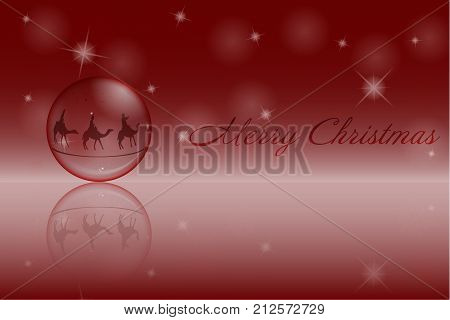 Christmas time. Christmas ball with the three kings follow the star to Bethlehem. Text: Merry Christmas.