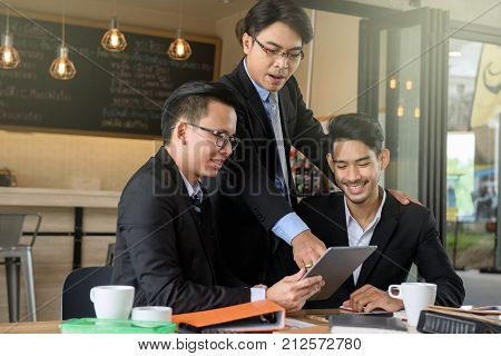 Businessman Boss Coaching Team By Tablet