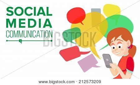 Teen Girl Messaging Vector. Communicate On Internet. Chatting On Network. Using Smartphone. Colorful Chat Bubbles. Social Media Addiction