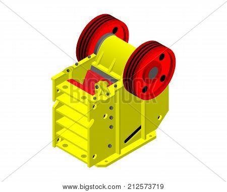 Jaw yellow crusher 3D. factory equipment 3D.