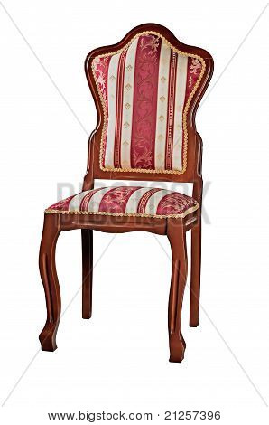 The Red Chair Fitted By A Satiny Fabric