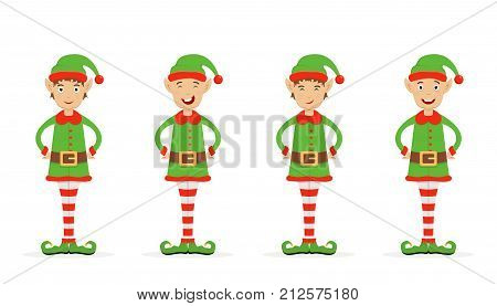 Set of Christmas elves in a green holiday costume with hat and shoes, isolated on white background, illustration.