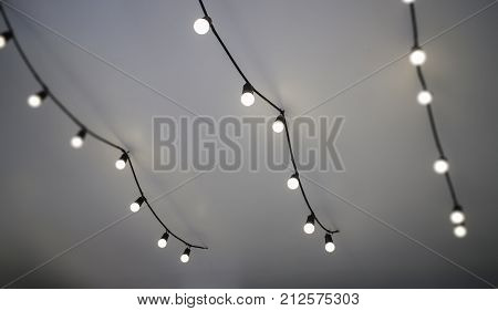 Simply ceiling warm white light bulbs stock photo