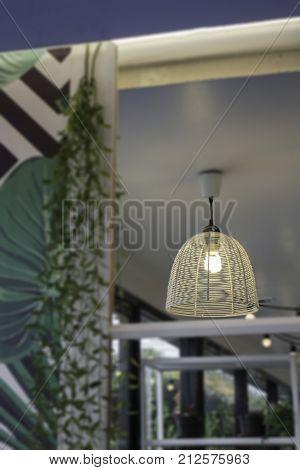 Decorating hanging lantern bulb lamps stock photo